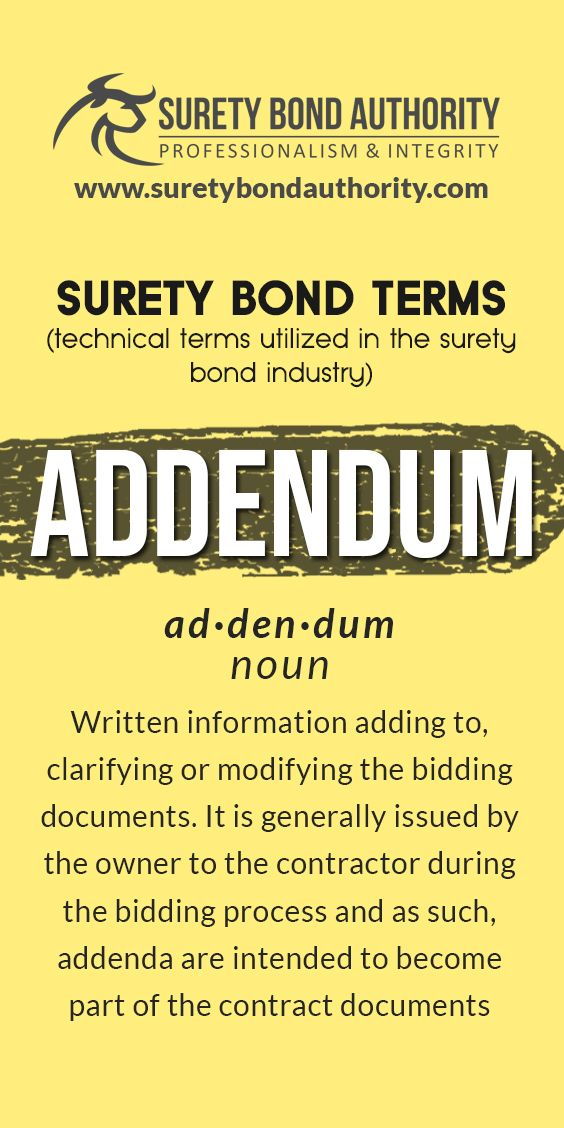 What Is An Addendum Glossary Bond How To Apply