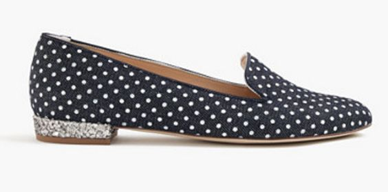 Polka-dot Denim Loafers with Glitter Heels