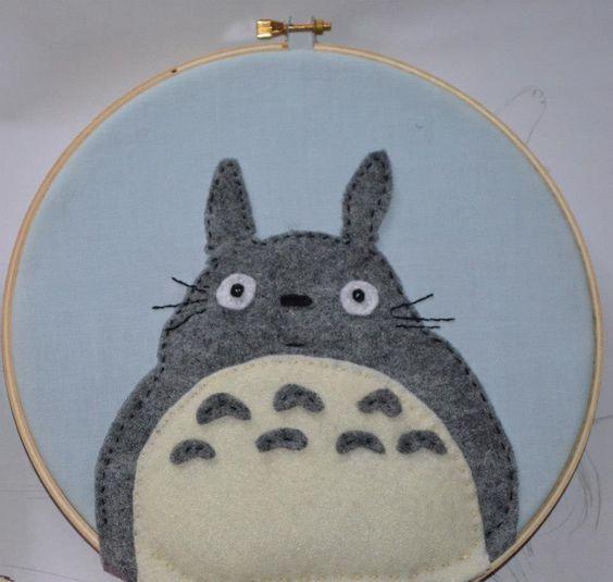 Totoro hoop embroidery