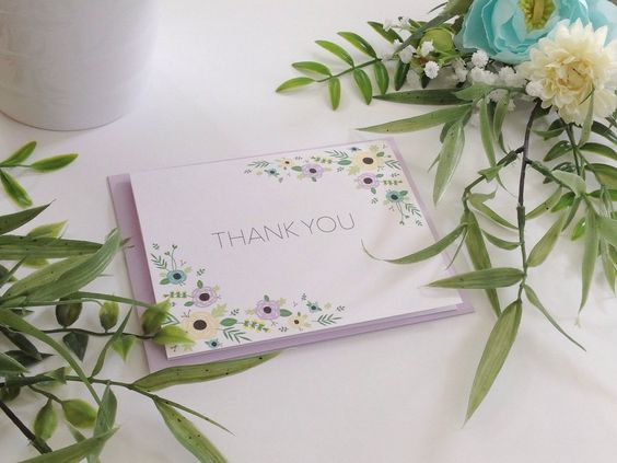"5-pack/10-pack, ""Thank You"" Cards & Lavender Envelopes, Two-Corner Floral Border by LittleOakCardCo on Etsy https://www.etsy.com/listing/261369310/5-pack10-pack-thank-you-cards-lavender"
