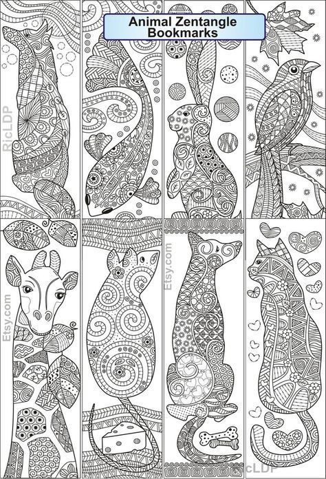 Set Of 8 Animal Zentangle Coloring Bookmarks Fish Cat Dog Etsy In 2021 Coloring Bookmarks Coloring Bookmarks Free Freehand Machine Embroidery