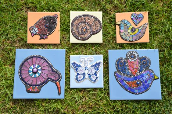 Mosaics on tile- various patterns by Janet Sanders