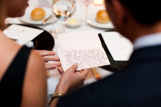 Place a handwritten note at the place setting of important guests or family members thanking them for sharing in your special day. {Photo via Style Me Pretty}