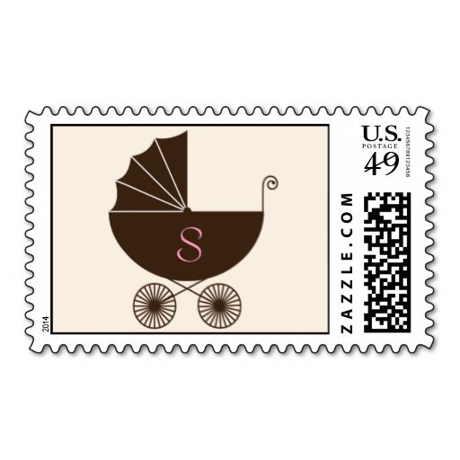 Monogram Carriage Baby Shower Postage - Girl