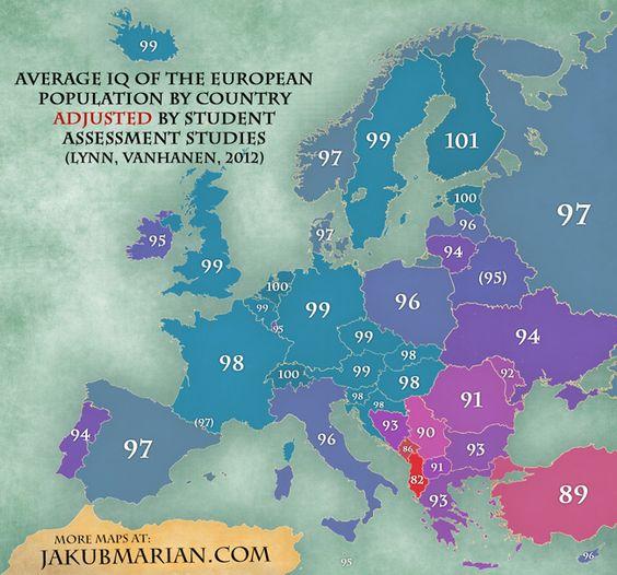 Average IQ in Europe
