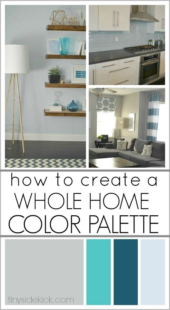 How to Create a Whole Home Color Palette- A great step by step to guide me to pick the right colors for my home and how to use them in interesting ways in each room so that my home is interesting and cohesive!  Gray:  Requisite Gray, Sherwin Williams.   Her color scheme is monochromatic and harmonious