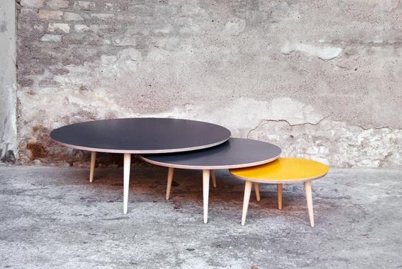 table basse ronde vintage watford. Black Bedroom Furniture Sets. Home Design Ideas