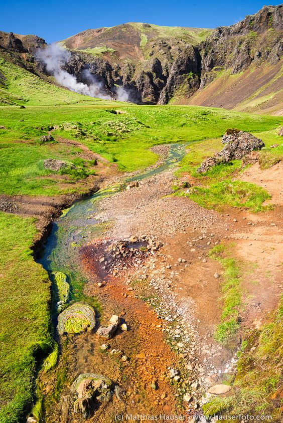Iceland: fascinating green, orange and brown colors of nature, geothermal area Hengill, great for hiking. Lots of Iceland landscape and nature photography in my blog: http://www.hauserfoto.com/blog/keyword?k=iceland Matthias Hauser hauserfoto.com - Art for your Home Decor and Interior Design needs.