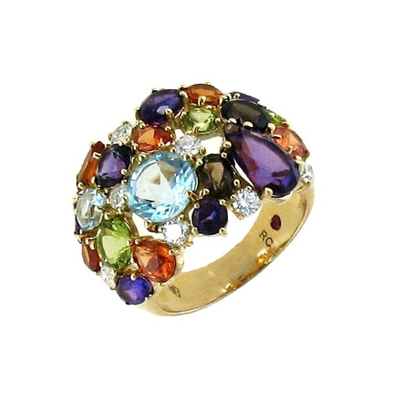Roberto Coin Shanghai Multi-Colored Stone & Brown Diamond Ring ...