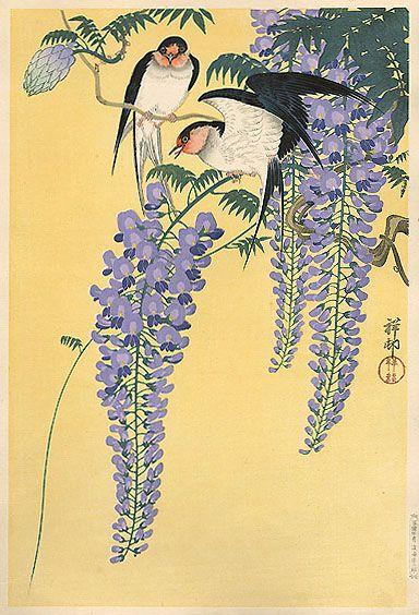 Ohara Koson (1877-1945): Wisteria and Swallows, 1926