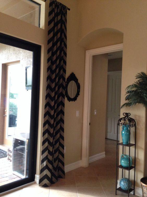 Gorgeous black and tan chevron curtain panel. by LinnysPillows ...