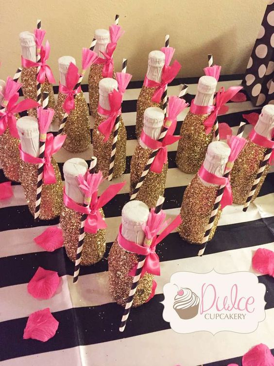 Glittery gold drinks at a Kate Spade birthday party! See more party ideas at CatchMyParty.com!