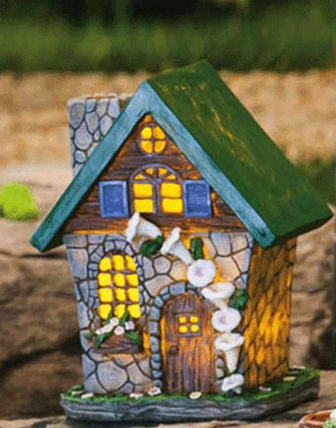 Lighted Fairy House with Green Roof – eFairies.com