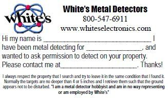Metal Detecting Permission Cards