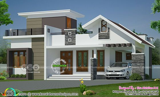 1132 Sq Ft 2 Bedroom Single Floor Home Mixed Roof In 2020 Bungalow House Design Unique House Design Kerala House Design