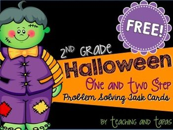 2nd Grade Halloween Math Problem Solving  (1 and 2 Step Problems) FREE!