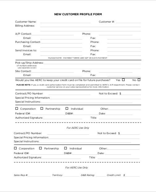 Client Profile Template Client Profile Customer Profile Example