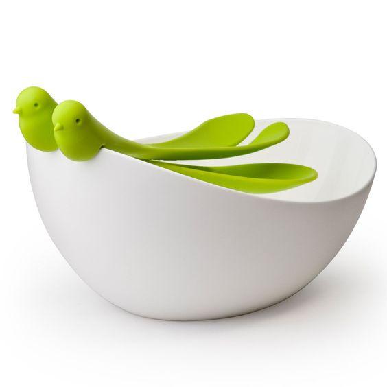 Verschönere dein Heim: Spatz Salatschüssel und Besteck - Geschenke von Geschenkidee