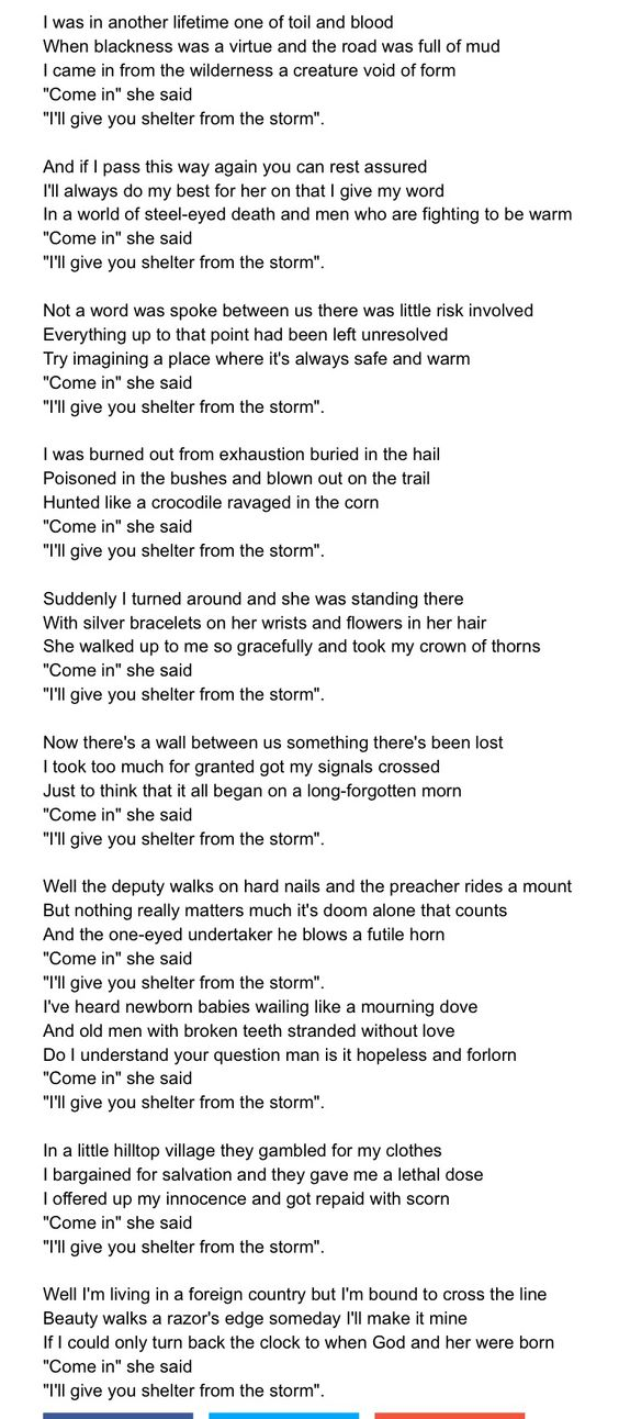 Shelter from the Storm lyrics.....  Bob Dylan