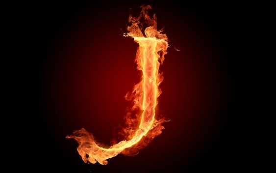 The fiery English alphabet picture J