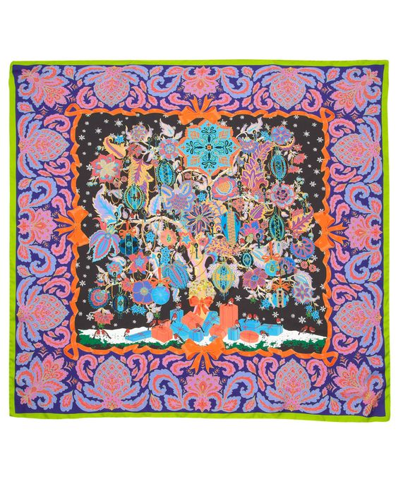 hermes constance price - Green Christmas Tree of Life Print Silk Scarf, Liberty London ...