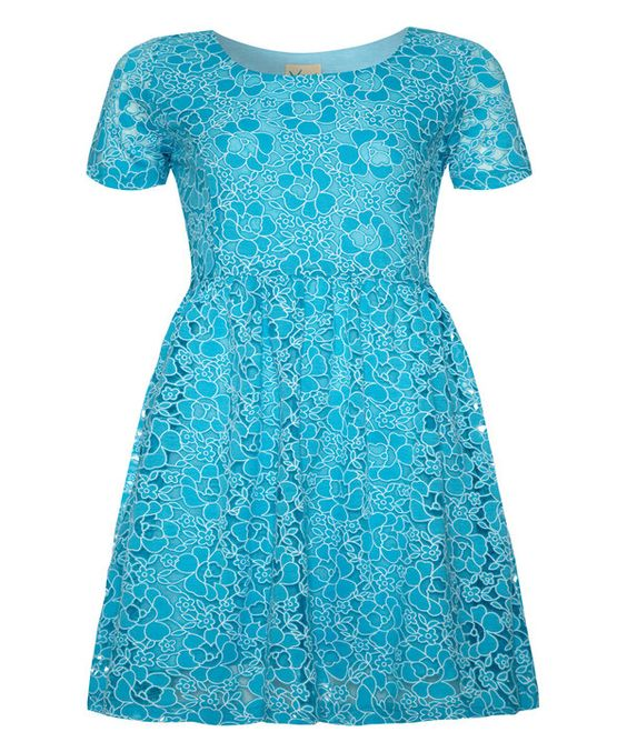 Look at this Yumi Girls Blue Petal Lace Dress - Girls on #zulily today!