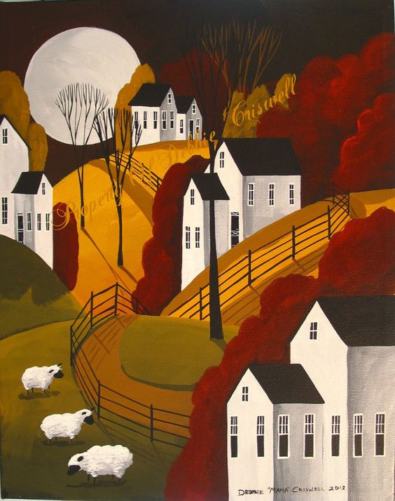 AVAILABLE !! One of a kind ORIGINAL PAINTING folk art landscape  by folkartmama, $99.00:
