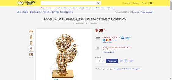 Angel De La Guarda Silueta / Bautizo // Primera Comunión - $ 30.00 en MercadoLibre
