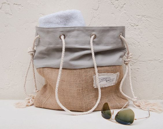 Gray Canvas Tote Large Beach Bag Beach Tote Burlap Grey Canvas Stripe (for shower curtain fabric)