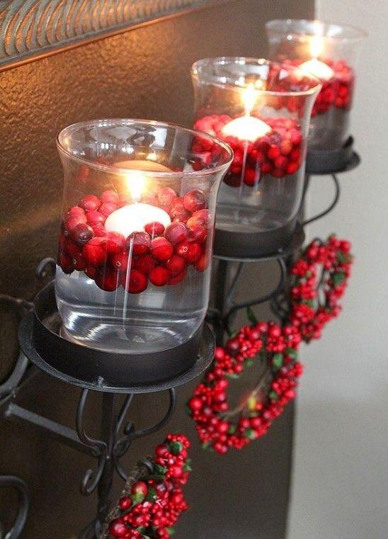 weihnachtsdeko glas kerzenhalter schwimmkerzen kränze