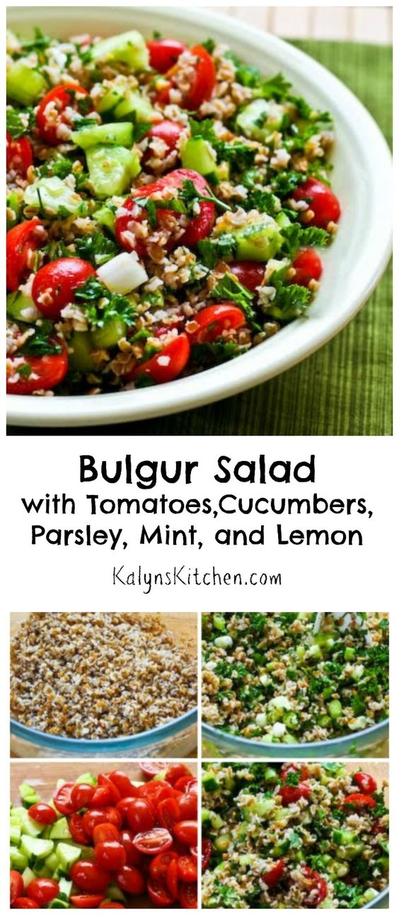 If you're looking for a new way to use tomatoes and cucumbers, this Bulgur Salad with Tomatoes, Cucumbers, Parsley, Mint, and Lemon tastes fresh and summery. I've made this for parties and dinners and this salad is a great side for any kind of grilled food. For a lower-carb salad use less bulgur and more vegetables. [from KalynsKitchen.com]