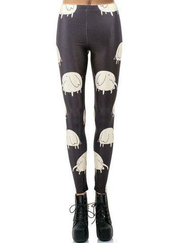 Black Digital Elephants Print Leggings - Sexy Tight Pants - ChocoChicMe