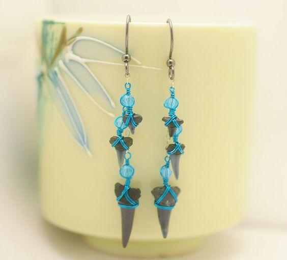 Dangle Sharks Tooth Earrings - Turquoise and Black Mermaid Earrings - Crystals - Teal - Sterling Silver by JBellsGems on Etsy
