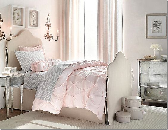French inspired girls room from Restoration Hardware line  featured in  Cote De Texas Blog.