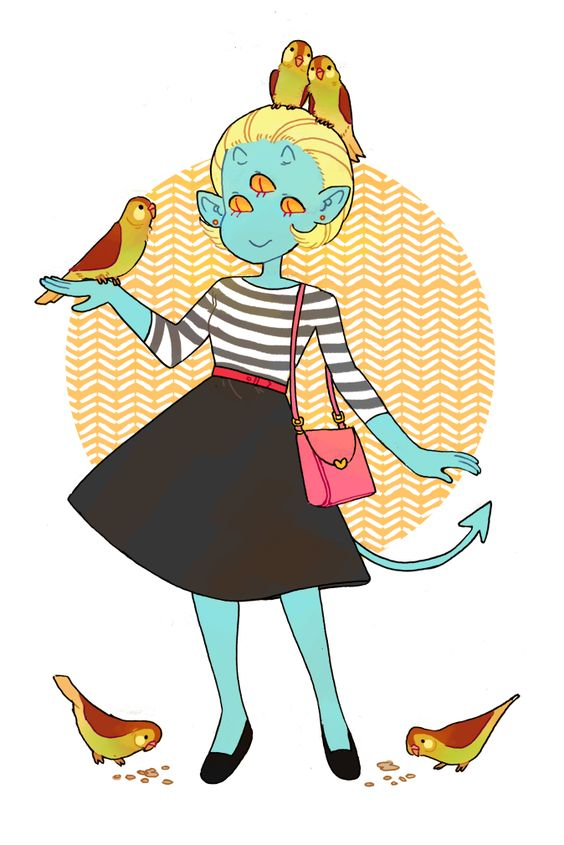 """girlfromhellcity: """" not making much progress on the comic front but here's freja with some birds because i can always draw that (uwu) """""""