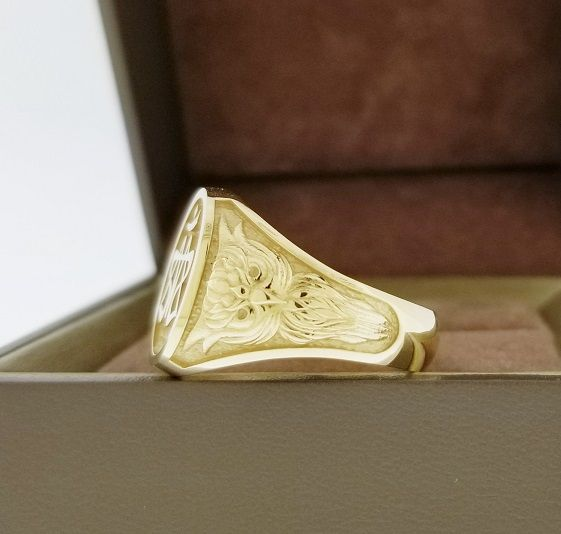 Custom Made Signet Ring With Owl Beautifully Detailed In Solid 10k Gold Signet Ring Monogram Ring Rings