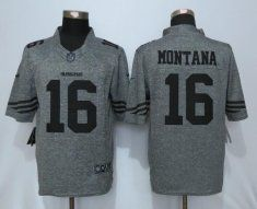 San Francisco 49ers 16 Montana Gray Men's Stitched Gridiron Gray Nike Limited Jersey
