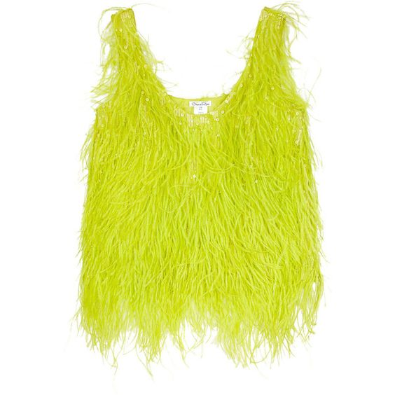 Oscar de la Renta Feathered silk top found on Polyvore