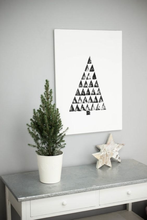 diy anleitung weihnachtsbaum auf leinwand christmas diy christmas tree on canvas via. Black Bedroom Furniture Sets. Home Design Ideas