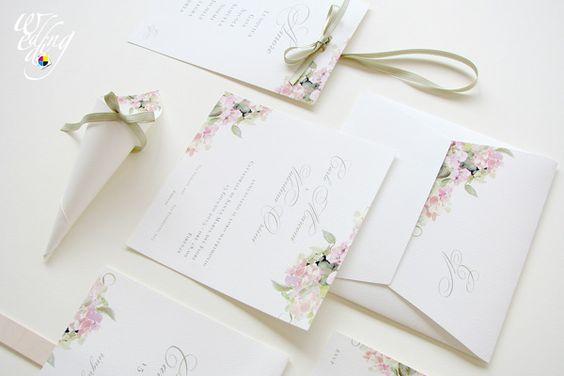 Coordinato di nozze con decoro ortensia rosa. www.tipografiafalisca.it