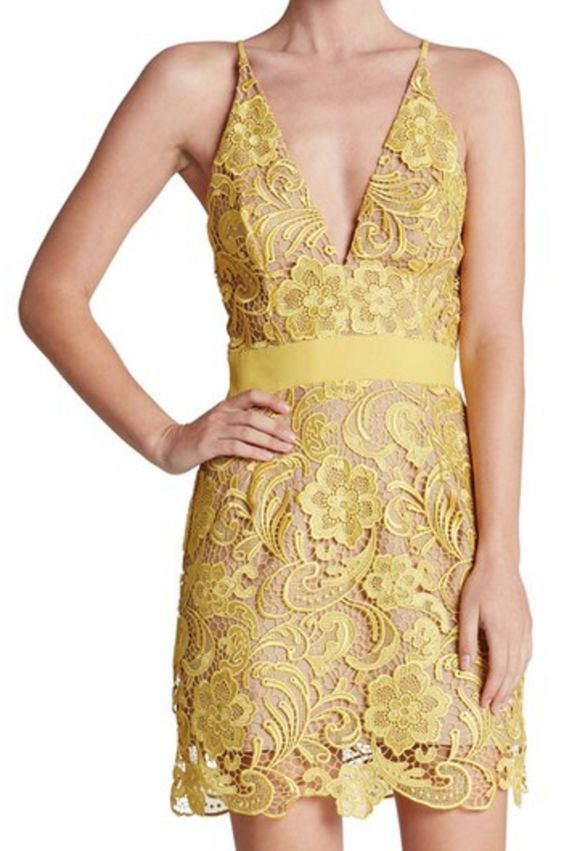 Yellow Lace Mini-Dress