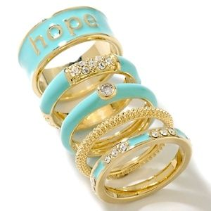 """Justine Simmons Jewelry Set of 5 """"Hope"""" Stackable Rings"""