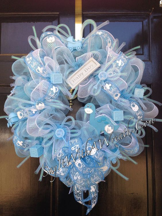 Baby boy wreath deco mesh and baby boy on pinterest - Deco boy ...