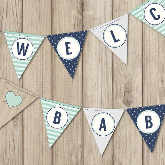 RUSTIC BABY SHOWER Banner - Welcome Baby Boy Banner - Mint and Navy Baby Shower by kimberlyjdesign on Etsy https://www.etsy.com/listing/234654229/rustic-baby-shower-banner-welcome-baby