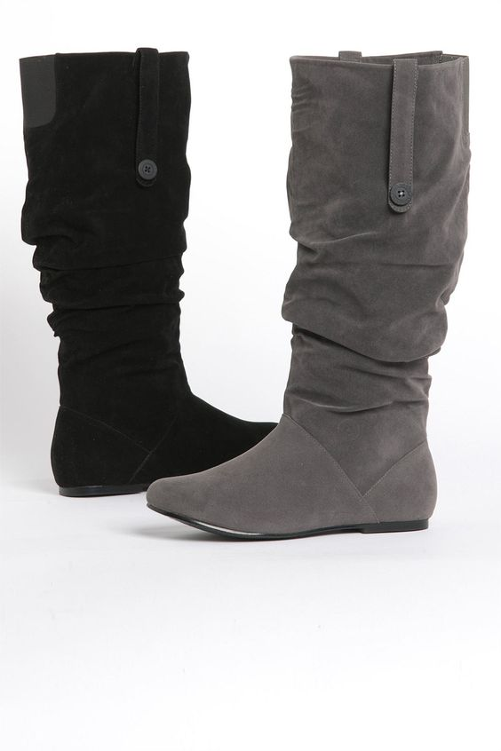 Women's Shoes - Sara Flat Suede Boots - EziBuy Australia wide calf ...