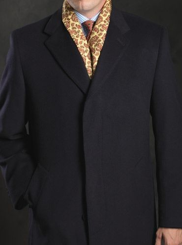 Cashmere Blend Navy Overcoat