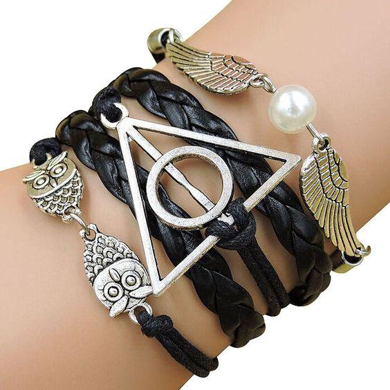 YAZILIND JKR Harry Potter Bracelet 3 en 1 avec pendentifs Hedwige, Vif d'or et logo Reliques de la Mort Triangle: Amazon.fr: Bijoux