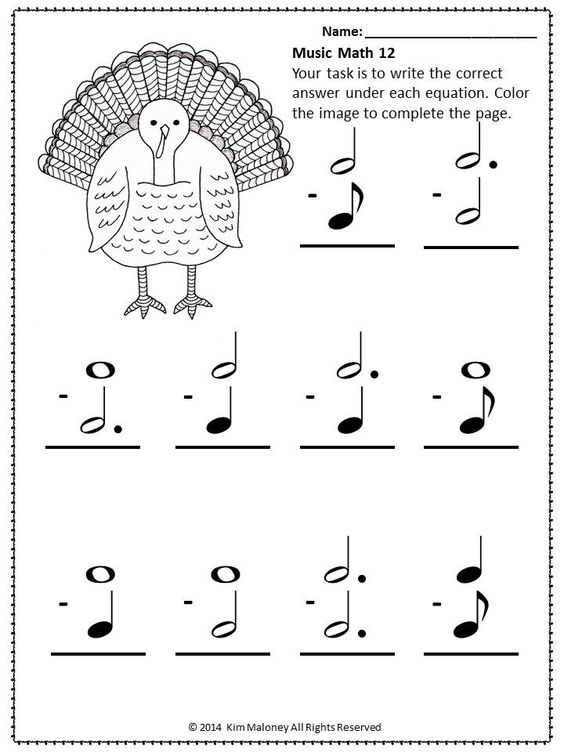 Thanksgiving Music Math Activities | Thanksgiving, Math sheets and ...