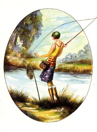 Pescaria, gravura no estilo Art Deco, dos anos 20-30, autor desconhecido. -