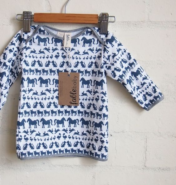 Organic Cotton Long Sleeve Top - Navy Animals on White | Fable Baby; CUTEST organic baby brand based in australia..